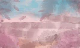 Fondo, rose, vecchi film Fotografie Stock