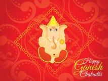 Fondo rosso artistico astratto di chaturthi del ganesh Immagine Stock