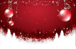 Fondo rosso astratto con il fiocco di neve, gli alberi di Natale e le palle rosse Illustrazione di vettore Immagine Stock