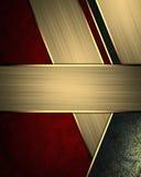 Fondo rosso astratto con le linee dell'oro e segno per testo Elemento per progettazione Mascherina per il disegno copi lo spazio  Fotografia Stock Libera da Diritti