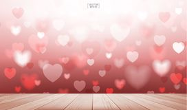 Fondo rosso astratto del cuore con il terrazzo di legno per i biglietti di S. Valentino illustrazione vettoriale