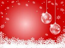 Fondo rosso astratto del fiocco di neve con christm due royalty illustrazione gratis