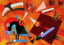 Fondo rosso astratto, ispirato dal kandinskij del pittore Fotografia Stock
