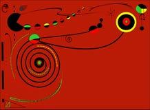 Fondo rosso astratto, spazio di empti del briciolo di stile di Miro Immagine Stock