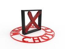 Fondo rosso choice sbagliato di bianco del quadrato nero 3d Fotografia Stock Libera da Diritti