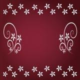 Fondo rosso con floreale Fotografie Stock