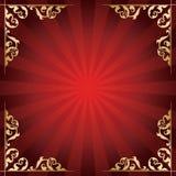 Fondo rosso con gli angoli ornamentali dorati Fotografia Stock