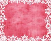 Fondo rosso con il bordo bianco del fiocco di neve royalty illustrazione gratis