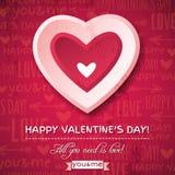 Fondo rosso con il cuore ed il desiderio rosa del biglietto di S. Valentino Fotografia Stock