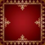 Fondo rosso con l'ornamento vittoriano dorato Illustrazione di Stock
