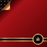 Fondo rosso d'annata con ribb ornamentale dorato Immagini Stock Libere da Diritti