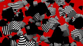 Fondo rosso degli elementi geometrici in bianco e nero senza cuciture del ciclo con l'alfa metallina stock footage