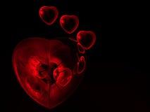 Fondo rosso dei cuori del biglietto di S. Valentino Immagine Stock