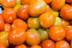 Fondo rosso dei pomodori, di verdure nel mercato fotografia stock