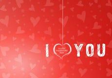 fondo rosso del cuore del biglietto di S Fotografia Stock Libera da Diritti