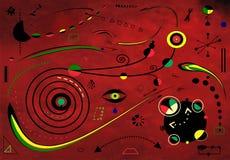 Fondo rosso del ldark astratto, pittore del ` di Miro di stile Fotografia Stock Libera da Diritti