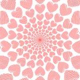 Fondo rosso del movimento di spirale del cuore di scarabocchio di progettazione Fotografia Stock