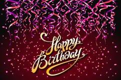 Fondo rosso del partito di vettore Progettazione di celebrazione di buon compleanno, elementi dei coriandoli di vettore, colori d royalty illustrazione gratis
