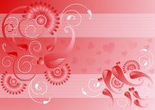 Fondo rosso del raso con la decorazione Fotografie Stock