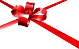 Fondo rosso del regalo del nastro e dell'arco Fotografia Stock
