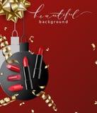 Fondo rosso del rossetto, palle di carta di Natale Il modello per la visualizzazione dei prodotti cosmetici modello di vettore Fotografia Stock