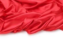 Fondo rosso del tessuto di seta Fotografia Stock Libera da Diritti