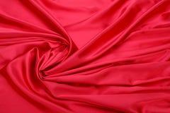 Fondo rosso del tessuto di seta Immagini Stock Libere da Diritti