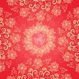 Fondo rosso dell'ornamento floreale Immagini Stock Libere da Diritti