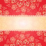 Fondo rosso dell'ornamento floreale Fotografia Stock