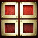 Fondo rosso dell'oro e di legno Fotografia Stock
