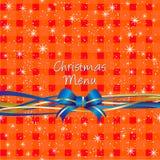 Fondo rosso della tovaglia di Natale, disegno del menu Immagini Stock