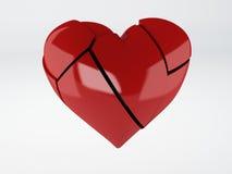 Fondo rosso di bianco del OM del cuore rotto Fotografie Stock