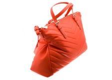 Fondo rosso di bianco della borsa Fotografia Stock