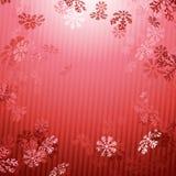 Fondo rosso di caduta della neve del nuovo anno di Natale Fotografia Stock Libera da Diritti