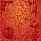 Fondo rosso di cinese del bambù e del loto Fotografia Stock