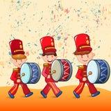 Fondo rosso di concetto dei batteristi, stile del fumetto royalty illustrazione gratis