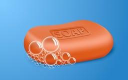 Fondo rosso di concetto della bolla di sapone, stile realistico illustrazione di stock
