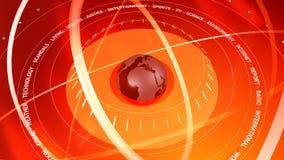 Fondo rosso di Digital di notizie grafiche Orbite intorno a The Globe Immagini Stock