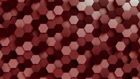 Fondo rosso di esagoni, rappresentazione 3D Fotografia Stock Libera da Diritti