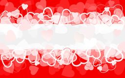 Fondo rosso di festa con i cuori bandiera Immagine Stock
