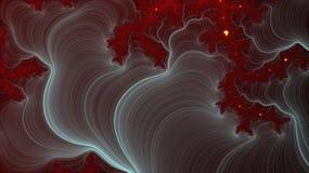 Fondo rosso di frattale e vista cosmica Immagini Stock