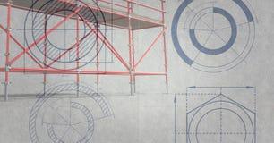 fondo rosso di grey del briciolo dell'armatura 3D Immagine Stock Libera da Diritti
