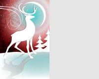 Fondo rosso di Natale con i cervi illustrazione vettoriale