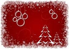 Fondo rosso di Natale con le capsule e l'albero illustrazione di stock