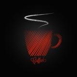 Fondo rosso di progettazione della tazza di caffè illustrazione di stock