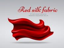 Fondo rosso di vettore del abstact del tessuto di seta di volo Immagine Stock