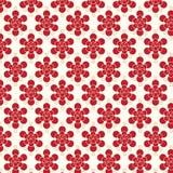 Fondo rosso di vettore del modello di fiori Fotografia Stock