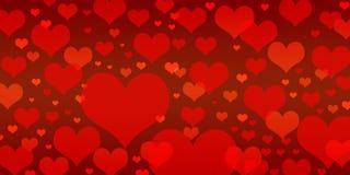 Fondo rosso differente di forma del cuore Fotografia Stock