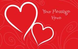 Fondo rosso e bianco di giorno di biglietti di S. Valentino Fotografie Stock