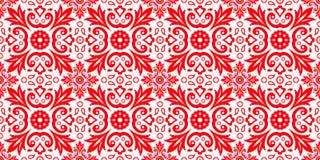 Fondo rosso e bianco etnico astratto Reticolo rosso senza giunte Immagini Stock